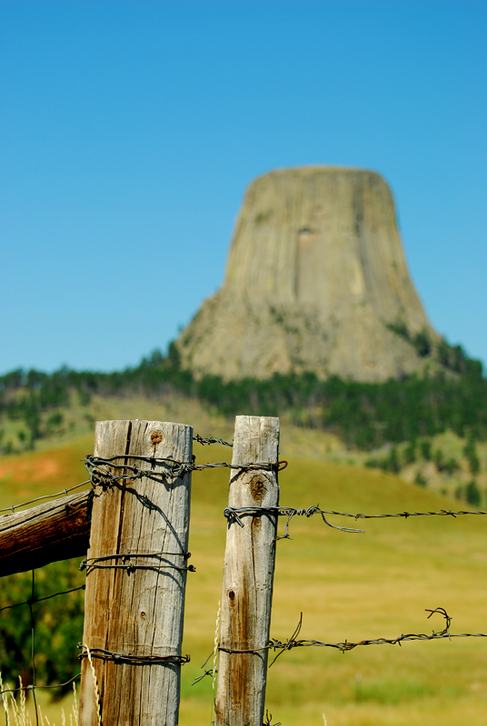 Old fence with Devils Tower in the background